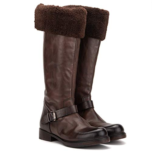 Vintage Foundry Co. London Women's Fashion Fur Lining Classic Riding Dark Brown Leather Buckled Zip-up Knee-high Boots, Round-Toe, Chunky Heels Platform, Leather-Rubber Outsole; Size 6.5