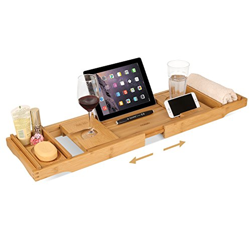 HOMFA Bamboo Bathtub Tray Bath Table Adjustable Caddy Tray with Extending Sides, Cellphone Tray and...