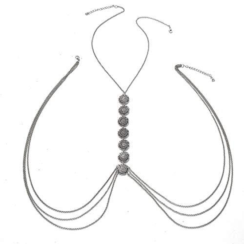 jiheousty Collar de arnés de Cadena de Cintura de Bikini Sexy de Plata Vintage Collares de Cadena de Cuerpo de Vientre Joyas de Cuerpo sin Respaldo para Mujer