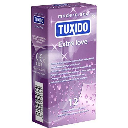 Tuxido «Extra Love» 12 Kondome - aktverlängernde Kondome mit Benzokain (4{85f0a5ae82f4f5a830ffb2d71752afe6d1574cbed597f52143612c2436cc2fa0}) für mehr Stehvermögen, mit Bananengeschmack - Liebe, Potenz und Sicherheit