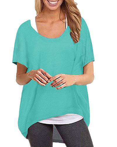ZANZEA Camiseta Mujer Manga Corta Suelta Tops Irregular Color Sólido T-Shirt Cuello Redondo Casual Túnica Blusa Pollover 02-Verde XL