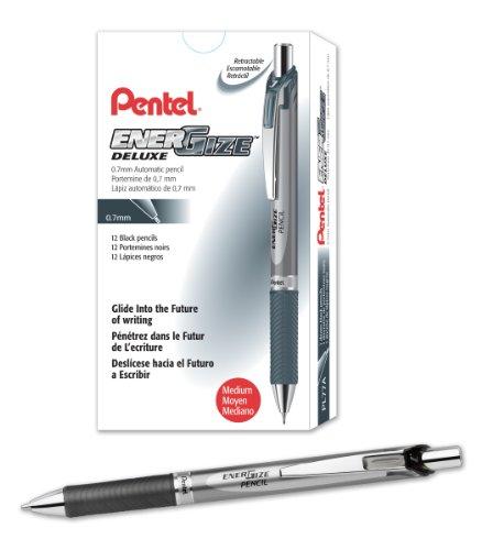Pentel EnerGize Mechanical Pencil (0.7mm) Black Accents, Box of 12 (PL77A)