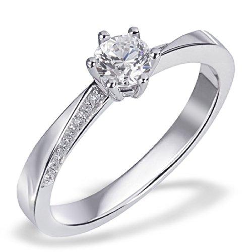 Goldmaid Damen-Ring Verlobungsring Lisa 585 Weißgold 17 Diamanten 0,31 ct. H Gr. 58 Pa R6409WG58 Ehering Trauring Brillanten  Diamantring