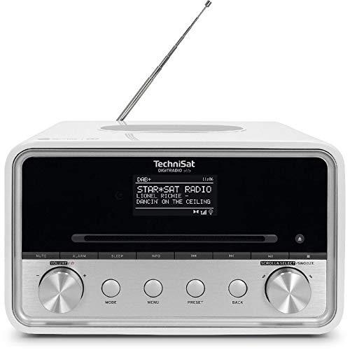 TechniSat DIGITRADIO 585 – DAB+ Hybridradio (DAB, UKW, Internetradio, Bluetooth, Spotify, Wireless Charging, Alexa Sprachsteuerung, OLED-Display, CD-Player, USB, MP3, App-Steuerung, Kopfhörer) weiß