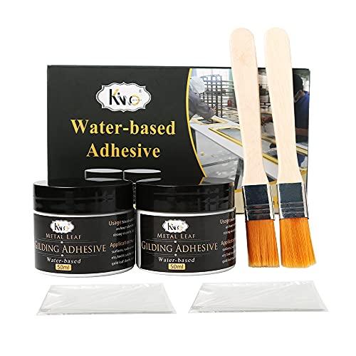 KINNO Vergoldung Blattgoldkleber, 100 ml Epoxidharz-Blattgold Kleber Auf Wasserbasis für den Professionellen Bastel Gebrauch (100 ml + Pinsel + Handschuhe)