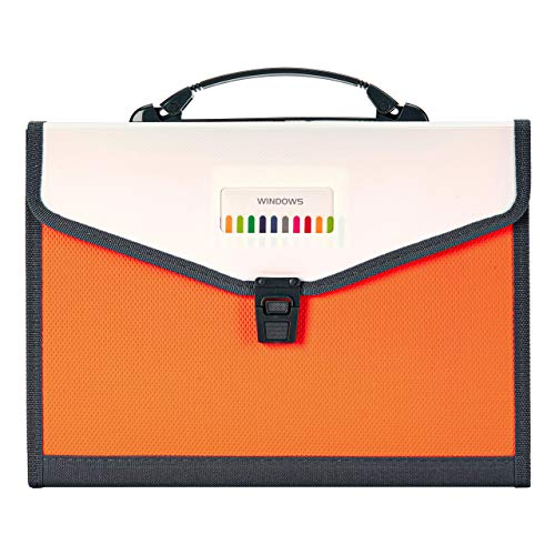 FANWU 13 Pockets Expanding File Folder Accordion File with Handle & Buckle - Letter A4 Paper Size - Expandable Plastic File Folder Monthly Portable Document Organizer for Home School Office (Orange) Photo #7