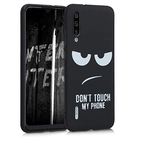 kwmobile Cover compatibile con Xiaomi Mi A3 / CC9e - Custodia in silicone TPU - Back Case protezione posteriore cellulare - Don't touch my phone bianco/nero