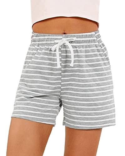 CMTOP Pantalones Cortos Verano de Pijama Algodón Salón Shorts a Rayas...