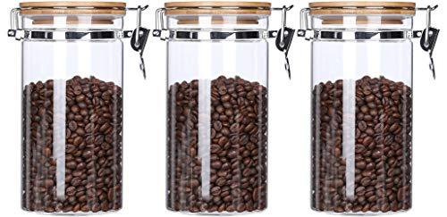 KKC Glasdose mit Bambusdeckel Luftdicht- Kaffeebehälter - Kaffeedose Luftdicht Glas - Kaffeebohnen Glasbehälter - Aufbewahrung Glas für Kaffee,1200 ml,3er Sets