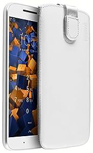 mumbi Genuine Leather Case Compatible with Motorola Moto G4 / G4 Plus White