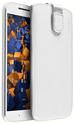 mumbi Echt Ledertasche kompatibel mit Motorola Moto G4 / G4 Plus Hülle Leder Tasche Case Wallet, Weiss