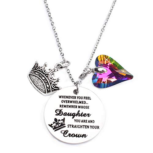 Miss Pink Inspirational Quote Whenever You Feel Overwhelmed Remember Whose Daughter You are and Straighten Your Crown Pendant Necklace for Women Teens