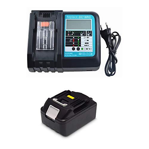 18V 3.0Ah Ersatz Akku mit Ladegerät für Makita Baustellenradio DMR110 DMR112 BMR100 BMR104 DMR108 DMR102 DMR107 DMR104 DMR101 DMR103B BMR102 DMR100 DMR106 Radio Werkzeugakkus