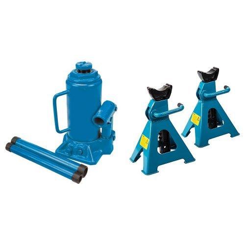 Silverline 598558 - Gato hidráulico de botella (10 toneladas) y Silverline 763620 Caballetes mecánicos, 2 unidades, 3 toneladas