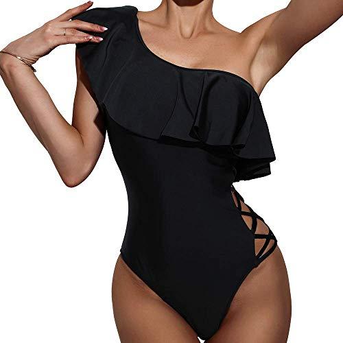 faerdasi Womens Ruffled One Piece with Crisscross Side Straps Swimsuit Flattering Bathing Suit Black