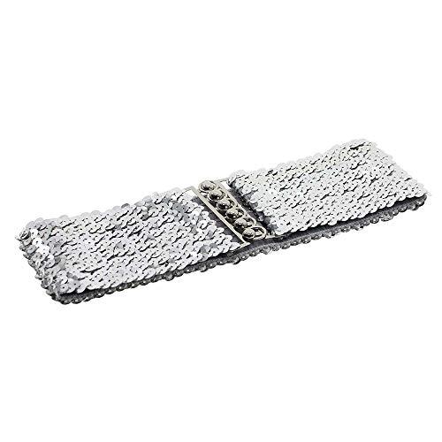 Gogogo Damen Gurt Rockbund Schick Glänzende Pailletten Gürtel Silber