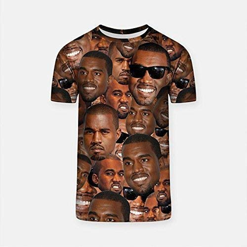Kanye West Tee Meme T-Shirt Size XL Yeezy Culture Face Collage Funny Shirt for Party School and Work All-Over Print T-Short GO1230