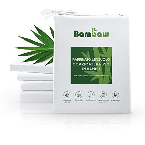 Lenzuolo in bambù con Angoli | Lussuosamente Morbido | Lenzuolo con Angoli Singolo | Lenzuola Ipoallergeniche | Lenzuolo Antiacaro |Tessuto Traspirante | Bianco - 90x190 | bambù
