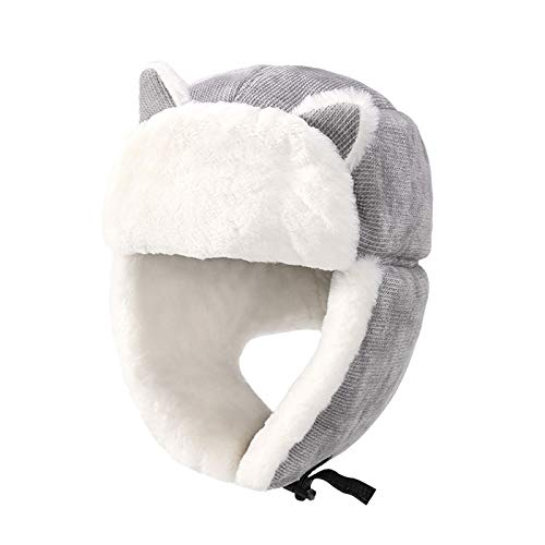 JFF Gorra De Esqu, Lindo Clido Felpa Esponjosa De Nailon con Capucha De Piel Sombrero Espritu Orejas Lobo Oso Gato Disfraz Sombrero Gorros Lindos Orejeras,Gris