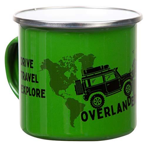 OVERLANDER | retro Emaille Becher in grün | mit coolem offroad Motiv mit Dachzelt und Weltkarte | leicht und bruchsicher, für Camping, Vanlife und Globetrotter | von MUGSY.de