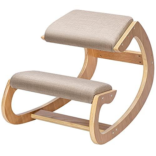 VIVOHOME Ergonomic Rocking Kneeling Chair, Upright Posture Stool for...