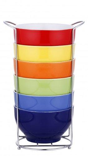 XXL Müslischalen-Set 7-tlg. Keramik - 6 Schalen im Ständer - Müsli Schale - Müslischüssel - Dessertschale - Schale - Schüssel
