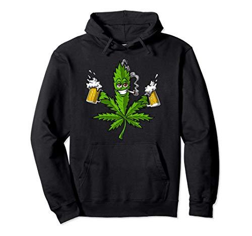 Erba Marijuana Cannabis Birra Erbaccia Hippie Weed Party Felpa con Cappuccio