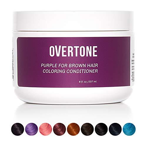 oVertone Haircare Semi-Permanent Color Depositing Conditioner with Shea Butter & Coconut Oil, Purple for Brown, Cruelty-Free, 8 oz