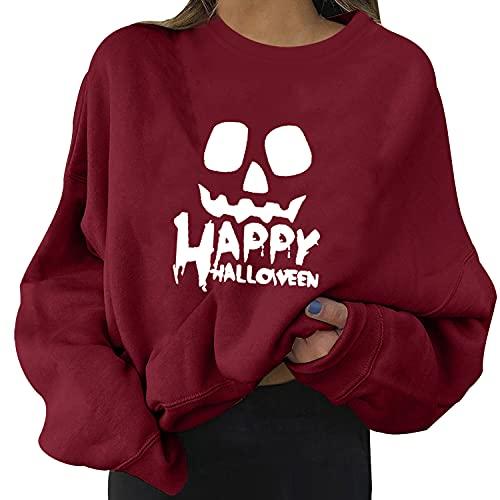Tekaopuer Suéter de Halloween para mujer, con diseño de calabaza, cuello redondo, informal, manga larga,...