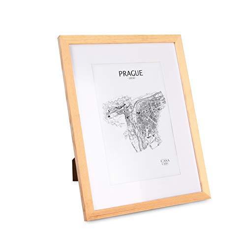 Classic by Casa Chic Marco de Fotos 30 x 40 cm con Paspartú para Foto 20 x 30 cm - Madera de Pino - 1 Marco - Grosor del Marco 2 cm - Frente Inastillable de Perspex - Color Despintado