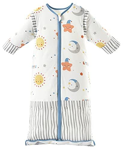 Chilsuessy Winter 3.5 Tog Kinder Schlafsack mit abnehmbaren Ärmeln Bio Babyschlafsack für Jungen und Mädchen von 1 bis 10 Jahre alt, Blau Himmel, XL (130-150 cm)