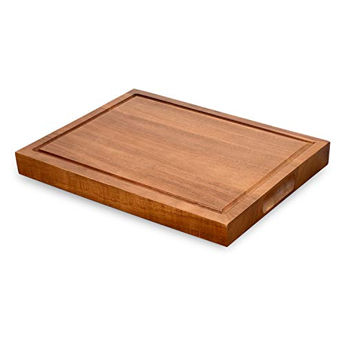 Cutting Board for Kitchen Acacia Wood 1.3 Inch Thick Large Reversible Wooden Kitchen Chopping Boards with Juice Groove and 3 Compartments as Cheese Board (S, Acacia Wood)