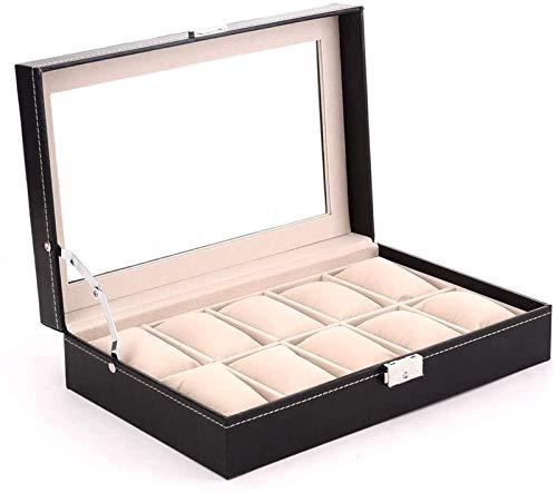 KEEBON Reloj Boxes Boxes Box Reloj - Elegante Almacenamiento para hasta 10 Relojes de Pulsera Pulsera de joyería Colecciones Ver Pantalla