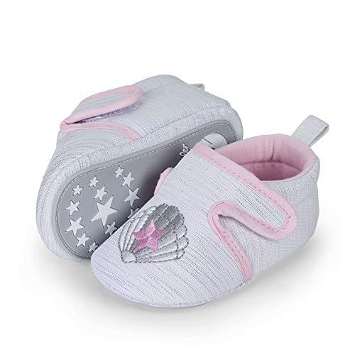 Sterntaler Baby-Krabbelschuhe für Mädchen, Rutschfeste Sohle, Klettverschluss, Muschelmotiv, Farbe: Weiß, Größe: 19/20, Art.Nr.: 2302162.0