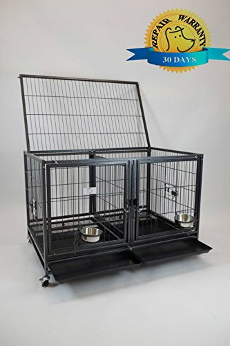 Homey Pet-43 All Metal Open Top Stackable Heavy Duty Cage(Upper) w/Floor Grid, Tray, Divider, and Feeding Bowl