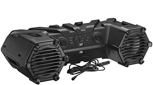 BOSS Audio Systems ATVB95LED UTV ATV Speakers - Weatherproof, ATV Soundbar, 8 Inch Speakers, 1.5 Inch Tweeters, Amplified, Wired Remote for Bluetooth Connectivity, LED Light Bar, Storage Compartment