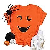 Writtian Camiseta de manga corta para mujer, cuello redondo, para Halloween, animal, calabaza, suelta, para verano, túnica, 74#naranja, XXL