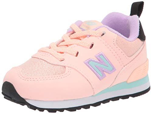 New Balance girls Iconic 574 V1 Bungee Sneaker, Cloud Pink/White Mint/Dark Violet Glo, 4 Wide Infant US