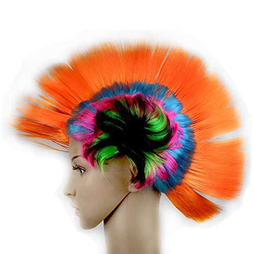 Fashion Style Glamour Haarteil Halloween Maskerade Punk Mohawk Mohican Frisur Hahnenkamm Haar Perücke für Frauen,Orange