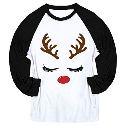 Alwayswin Weihnachten Frauen Patchwork Langarmshirts Print Langarm Bluse T-Shirts Beiläufige O-Ausschnitt Sweatshirt Lose Mode Oberteile Lange Hülsen Blusen Sweatshirts