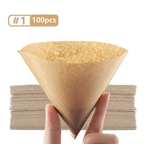 Cone Coffee Filter #1, Disposable Coffee Filter Paper Natural Brown Unbleached V60 Coffee Filter Fit for Pour Over Coffee Drippers (1-2 Cup Size,100 Count)