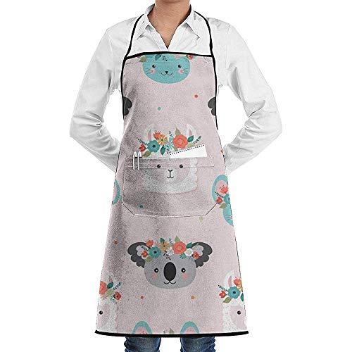 Eliuji schort met zakken Koalas dragen slingers grillschorten voor thuiskoks koken BBQ grill bakken