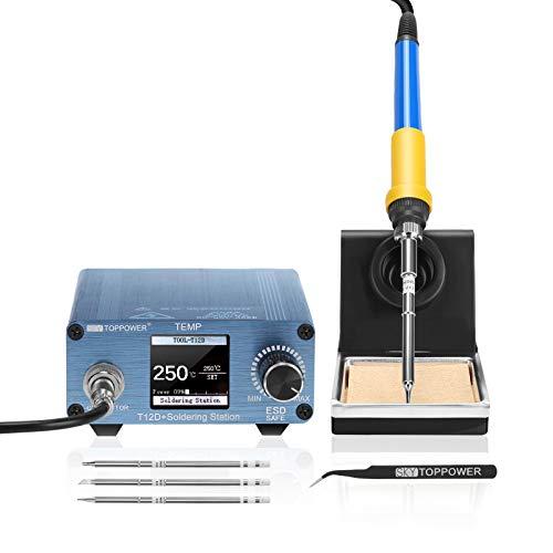 T12 Lötstation 75W Lötkolben Set, 150-450°C einstellbare, LCD-Anzeige, Temperatursperrfunktion, Schlaffunktion,3 Ersatzspitzen und Lötzinn