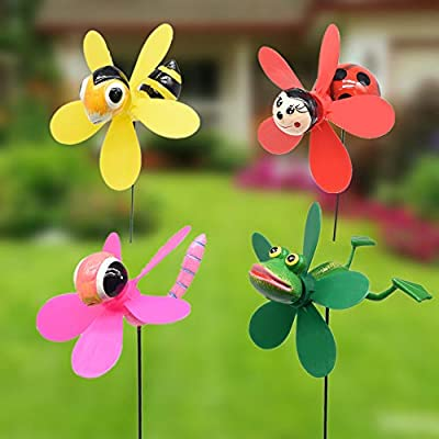 Bee Beetle Garden Wind Spinners Pinwheels Whirlygigs Dragonfly Bee Stakes Decorations Outdoor Lawn Decorative Yard Decor Patio Accessories Windmills Ornaments Gardening Art Christmas Whimsical Gifts
