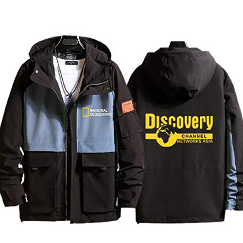 Jacket Casual Men's and Women's Jacket National Geographic Channel Discovery Channel Hooded Casual Windbreaker Sweater Long Sleeve Clothes (Without Shirt),Black1,2XL(180-185cm)
