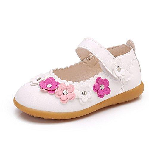 KVbaby Enfants Flat Princess Chaussures Fille Semelles Souples Mary Jane Ballerine Floral Décor Chaussures en Cuir