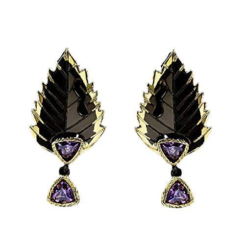 arete Exquisitos Pendientes Colgantes Con Forma De Pluma De Hoja, Pendientes De Circonita Púrpura Para Mujer, Joyería De Plata 925 Originales De Lujo Para Mujer
