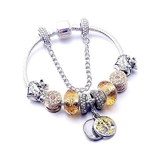 GHabby Pulsera de Aleación para Mujer, Brazalete de Muñeca de Diamantes de Imitación con Incrustaciones Creativas, Regalos de Cadena con Colgante de Cuentas de Cristal para Niña de San Valentín (B)