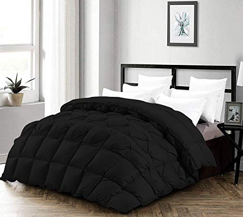 Best Bedding 5 Half Piece Pinch Pleated Comforter Set Premium 1200 Thread Count 100% Egyptian Cotton Super Soft (King/California King Size Black Color)