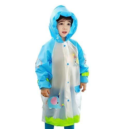 Krystle Boy's & Girl's Solid Rain Coat (Kry/Elphant/crtn/G/Rcot/Scbg-Blu/2-3Y_Blue_2-3 Years)